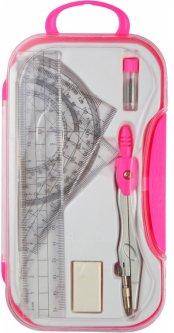 Готовальня Economix в кейсе с кнопкой 7 предметов Розовый (E81424)