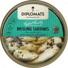 Сардины Diplomats подкопченные в оливковом масле с лимоном и базиликом 160 г (4750010000199)