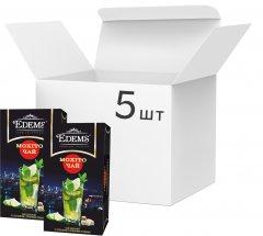 Упаковка зеленого пакетированного чая Edems Мохито 5 пачек по 25 пакетиков (4820149487533)