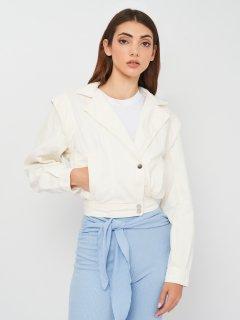 Джинсовая куртка Bershka 1162/019/712 S Белая (SZ01162019712028)