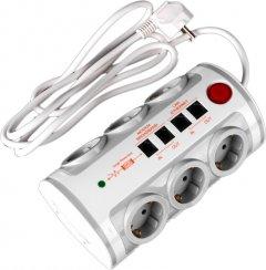 Сетевой фильтр Brille SF-6F/2ZV 2USB+RJ11+RJ45+TV 3x1.00 6 розеток White (L101-001)