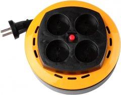 Сетевой фильтр Brille XU-4C/10 BL 2x1.0 4 розетки Black-Yellow (L99-001)