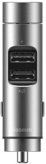 Автомобильное зарядное устройство с FM-модулятором Baseus Energy Column Car Wireless MP3 Charger (Wireless 5.0 + 5V / 3.1A) Silver (CCNLZ-0S)