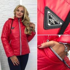 """Жіноча куртка на синтепоні """"Аляска"""" 48 червоний"""