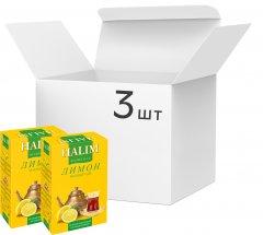 Упаковка черного чая Halim листовой с растительным сырьем и ароматом лимона 3 пачки по 80 г (4820229040344)