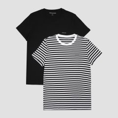 Футболка Calvin Klein Jeans J30J315194-0GM0 L 2 шт Black Beauty-White Black Stripe (8719852258423)