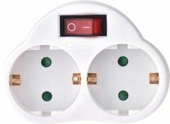 Сетевой адаптер Emos P0063 двойной с выключателем