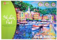 Альбом Santi для эскизов масляными и акриловыми красками 200 г/м2 А4 12 листов (742548)