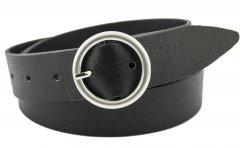 Женский кожаный ремень J.K. 3.5 см для джинсов черный 100-130 см (JK1357)