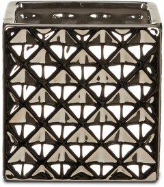 """Кашпо для цветов Scheurich Crystal 15"""" керамика Серебристо-черный (4002477622149)"""
