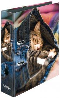Папка-регистратор Herlitz А4 8 см Jeans Cat Котенок (50030958)