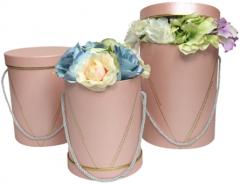 Набор подарочных коробок Ufo Pink картонных 3 шт Розовых (W9319 Набор 3 шт PINK круг. высо)