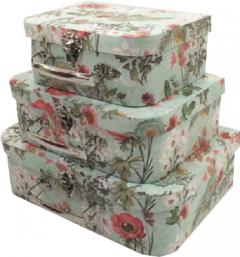 Набор подарочных коробок Ufo Flowers картонных 3 шт Разноцветных (W9483 Набор 3 шт FLOWERS сундук)