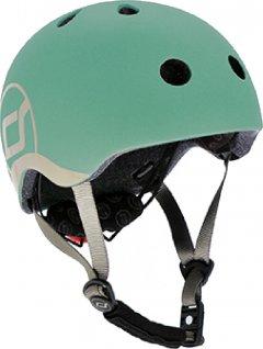 Защитный детский шлем Scoot and Ride с фонариком 45-51 см Серо-зеленый (XXS/XS) (SR-181206-FOREST)