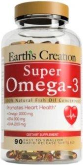 Жирные кислоты Earths Creation Super Omega-3 1000 мг 90 капсул (608786002166)