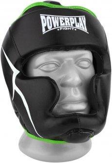 Боксерский шлем тренировочный PowerPlay 3100 PU M Черно-зеленый (PP_3100_M_Black/Green)