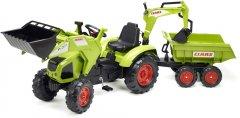 Детский трактор на педалях с прицепом, передним и задним ковшом Falk 1010W Claas Axos (цвет - зеленый) (3016201010233)