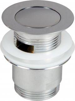 Донный клапан для раковины PREVEX клик-клак с малой заглушкой с переливом (A143-01)