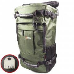 Рюкзак-сумка дорожная для путешествий KAKA 2050 D Green 40л трансформер с кодовым замком ручками ремнем