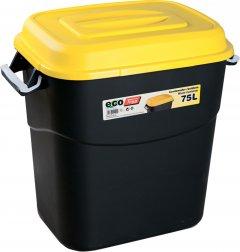 Бак-контейнер Tayg Eco для мусора с крышкой и ручками 60х56х40.2 см 75 л Черно-желтый (411014_жовтий)