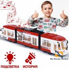 Дитяча машинка Трамвай - розвиваюча іграшка з активними кнопками зі світловими і звуковими ефектами піснями і історіями англійською мовою, на батарейках для дітей від 3 років Червона