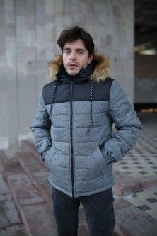 """Куртка чоловіча зимова сіра-чорна """"Аляска"""" S + подарунок Рукавички"""