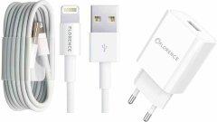 Сетевое зарядное устройство Florence 1USB 2A + Lightning Cable White (FL-1020-WL)