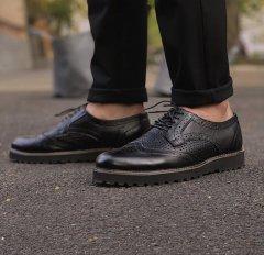 Мужские Классические Броги ONYX Black с перфорацией из натуральной кожи чёрные 45 размер