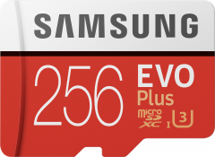 Samsung EVO Plus microSDXC 256GB UHS-I Class 10 + SD адаптер (MB-MC256HA/RU)
