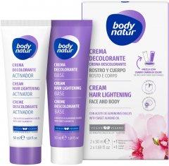 Крем для осветления волос на лице и теле Body Natur Hair Lightening Cream for Face & Body 2x50 мл (8414719407227)