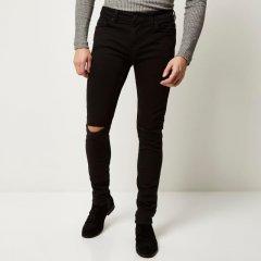 Чоловічі джинси з розрізами на колінах Asos 34 скінні чорний
