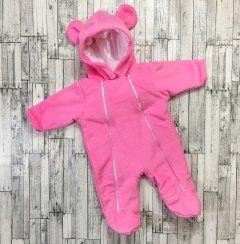 Демісезонний комбінезончик флісовий Kid Way Ведмедик 56-62 см рожевий