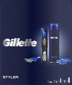 Подарочный набор для мужчин Gillette Fusion5 ProGlide Styler + Гель для бритья Ultra Sensitive 200 мл (7702018548972)