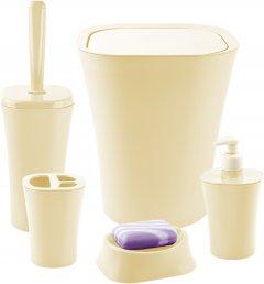 Набор аксессуаров для ванной комнаты PLANET Papillon 5 предметов кремовый