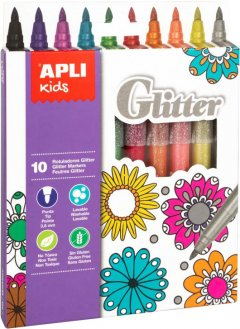 Набор маркеров Apli Kids Glitter с блестками 10 цветов (18218) (8410782182184)