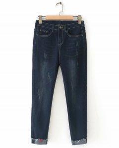 Джинси жіночі з потертостями та нашиванням Heart Berni Fashion (L) Синій (55864)