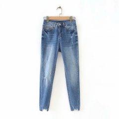 Джинси жіночі з необробленим краєм і потертостями Original Berni Fashion (M) Синій (55819)