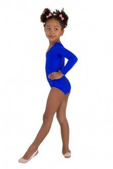Купальник для гімнастики і танців Little Dancer DR-57-B синій розмір 32 ( ріст 122-128 см)