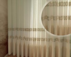 Тюль Декор-Ин Барселона Светло-бежевый с льняной полоской вышивка на льне 280х300 (Vi 100128) (ROZ6400050323)
