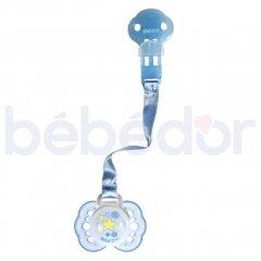 Тримач для пустушки стрічка з силіконовим кільцем Bebedor блакитна (8501)