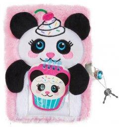 Пушистый блокнот с замочком и сквишем Make It Real Сладкая панда (MR36220)