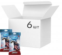 Упаковка влажных салфеток SmileMarvelКапитанАмерика антибактериальных 6 упаковок по 15 шт (42139147_4823071642247)