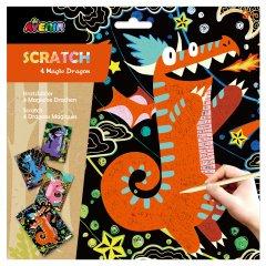 Набор для творчества скретч-арт Avenir Волшебные драконы 4 раскраски (CH1544)