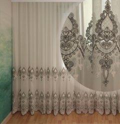 Тюль с купоном Декор-Ин Индиана Бело-серая с вышивкой на бамбуке 280х400 (Vi 200517) (ROZ6400051976)