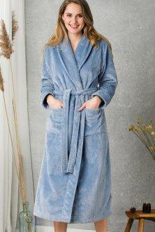 Теплый женский халат с капюшоном Key LGL 115 B20 L/XL Голубой