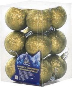 Набор елочных шаров NewYEAR 3 см 12 шт Золотистый (8104-3 gold)