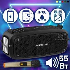 Акустична колонка Hopestar A20 Pro музична портативна - сумісна з будь-яким пристроєм з Bluetooth - Бездротова переносна блютуз система з вбудованим сабвуфером і мікрофоном + роз'єм під USB і AUX, Чорний