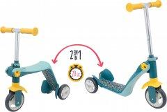 Детский самокат-трансформер 2 в 1 Smoby Toys с металлической рамой трехколесный Серый (750612)