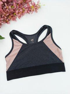 Топік для фітнесу і йоги H&M без поролону подовжений S чорний з какао (080501119)