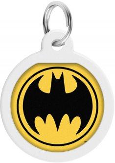 """Адресник для собак и котов металлический Collar WAUDOG Smart ID c QR паспортом, рисунок """"Бэтмен лого"""", круг, Д 25 мм (0625-1006ru-eng)"""